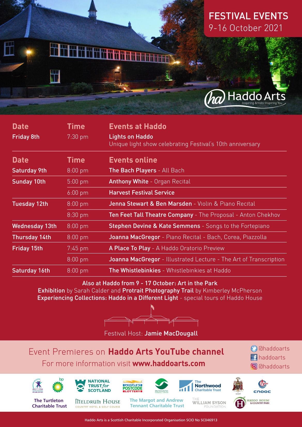 2021 Haddo Arts Festival Poster